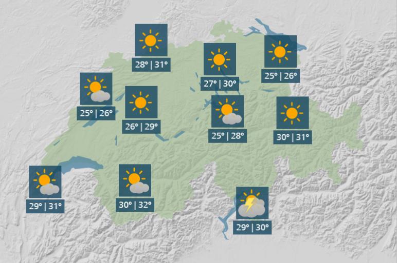 Jusqu'à 32°C cette semaine en Suisse, plus de 30°C attendus à Genève
